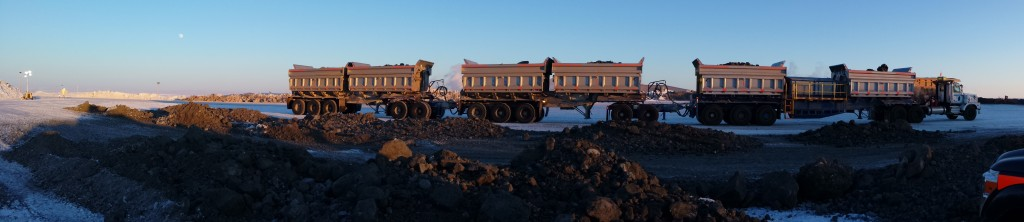 plastic liner on ore train mine site NWT full load